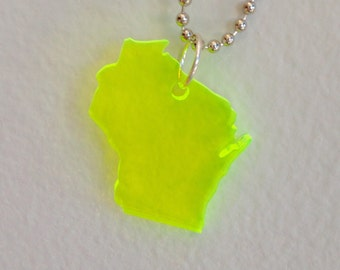 WI Shape Neon Green Necklace - Wisconsin Necklace - Laser Cut Acrylic Plastic - State Jewelry - Large Size