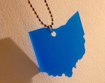State Jewelry - Large Ohio Necklace - Medium Blue Acrylic