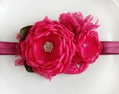 Fuschia Flowers Headband