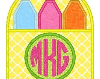 Crayon Box Monogram Machine Embroidery Applique Design