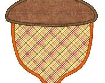 Acorn Machine Embroidery Applique Design