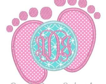 Baby Footprints Machine Embroidery Monogram Applique Design