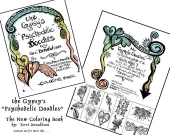 coloring book -The Gypsy's Pyschodelic Doodles - 10 hand drawn original designs - one sided - -frameable - printed on card stock - 8.5 x 11