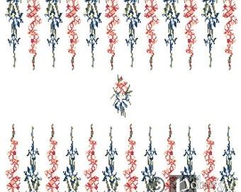 Backgammon Board Cross Stitch Pattern Gladiolus and Iris PDF