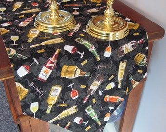 """Wine Lovers Table Runner 54"""" Wine Table Runner Reversible Wine Grape  Runner Tuscany Runner Wine Country Runner Wine Bottle Table Runner"""