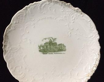 Antique Woodstock, Illinois Souvenir Plate