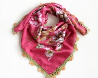 Floral Muslin Scarf, Pink Boho Bandana Turban PrintedCranberry Handmade Tatting Lace Trim, Cheesecloth Bohemian, Authentic OOAK Gift for Her