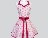 Sweetheart Retro Womans Apron / Cute Kitchen Cooking Apron in Vintage Petal and Plume Blue and Pomegranate Full Flirty Hostess Womens Apron