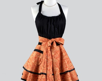 Flirty Chic Apron - Bountiful Halloween Thanksgiving Orange and Black Vintage Style Pinup Kitchen Apron