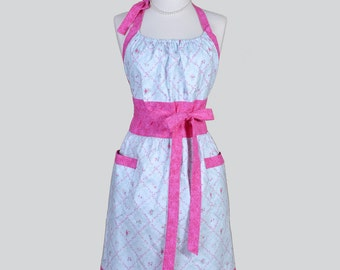Cute Kitsch Retro Apron . Cute Handmade Full Kitchen Retro Womens Apron Pink Roses Lattice Pattern on Light Blue Fabric Vintage Apron