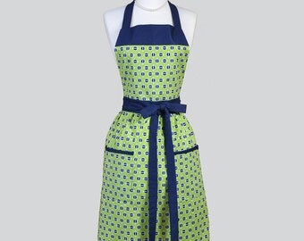 Full Bib Womens Apron / Vintage Inspired Retro Womans Apron in Lime Green with Navy Blue Kitchen Chef Apron Personalization or Monogrammed