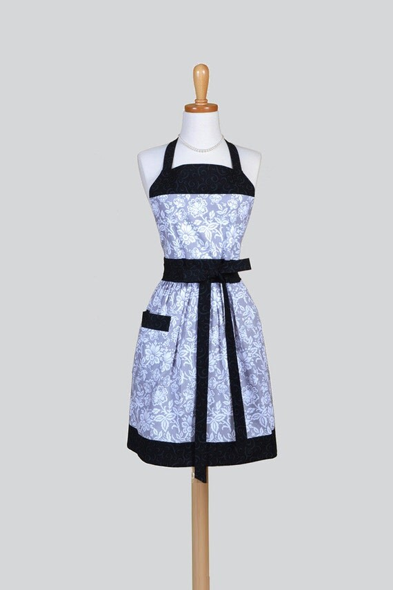 Full Womens Aprons Cute Vintage Kitchen Cooking Elegant Grey