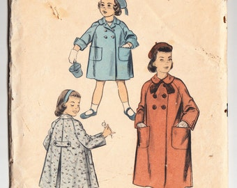 Vintage 1956 Advance 7826 Sewing Pattern Child's Coat Size 4