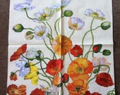 PN-117. Poppy poppies Price is for one napkin Paper Napkins napkins for decoupage Flowers decoupage napkin
