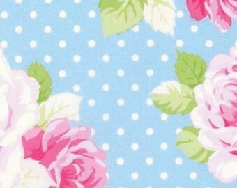 Sadie's Dance Card BLUE Dot Rose PWTW124-BLU Cotton Fabric by Tanya Whelan FreeSpirit