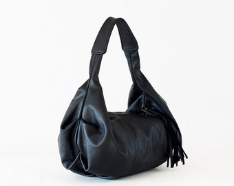 Black leather hobo bag, shoulder purse small shoulder bag hobo purse  black bag everyday purse  - Mini Kallia bag