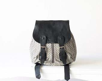 Mini women backpack in cotton with black leather, small back pocket bag purse back bag - Mini Artemis backpack