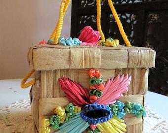 Vintage Raffia Square Box Handbag