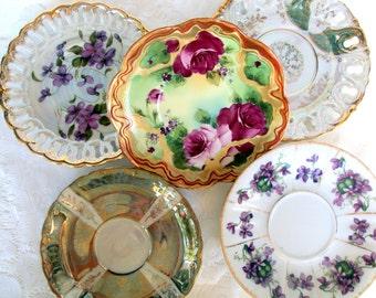 Vintage Porcelain Saucers,Mismatched China,Floral,Handpainted,Lusterware,Japan,Dining Serving,Wedding Bridal Party,Irredescent,Gold Trims