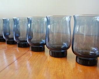Six Libbey / Rock Sharpe Glasses/ Tumblers - Tulip  - Dusky Blue - 1970's - Modern - Retro