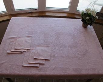 Tablecloth Set 6 Napkins 40s 1940s Pink Fancy Lacy Weave Crisp Linen Roses Pattern