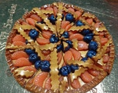 50% OFF - MANDARINE BLUEBERRY Pie - 2 Polymer Clay Bead Charms