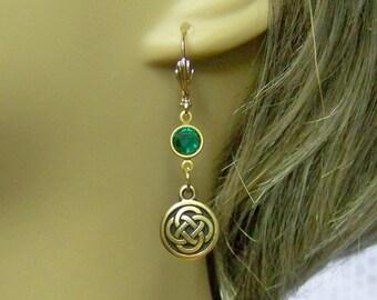 Celtic Love Knot Earrings, 22kt Gold Celtic Knots, Irish Wedding Jewelry, Celtic Wedding Jewelry, Emerald Green Swarovski Crystal Elements