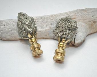 Lamp Finial Pair - Natural Pyrite