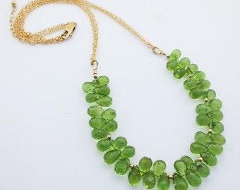 Peridot Gemstone Goldfilled Bib Necklace EE Designs