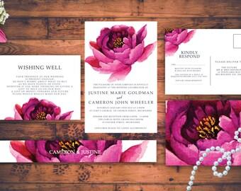Modern Pink Flower Wedding Invitation Set