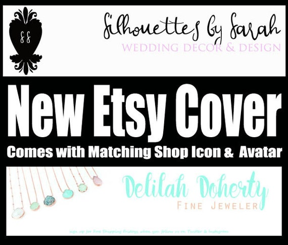 Etsy Shop Branding, Customized Banner and Shop Branding, Heart Silhouette Icon, Modern Styles, Etsy Cover Photo, Banner Avatar Set
