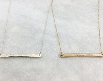 Hammered Bar Necklace   Sterling Silver   Gold Filled   N31617-S,G