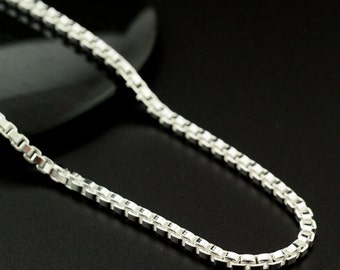 2.5mm Sterling Silver Chain - Square Venetian Box - 18 inch Finished or By The Foot