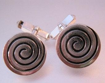 HALLOWEEN SALE 1950s SWANK Mid Century Modernist Cuff Links Silver Tone Vintage Mens Jewelry Jewellery