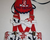 boy nautical first birthday outfit, nautical anchors cake smash outfit, navy blue red, 1st birthday hat, suspenders, diaper cover, tie