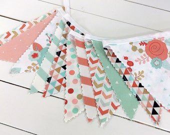 Bunting Banner, Girl Nursery Decor, Birthday Decoration, Nursery Decor - Coral Pink, Blush Pink, Mint Green, Gold, Aztec, Flowers, Floral