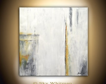 Original Large Abstract Modern Contemporary Oil Art White Gray Chalky Abstract Oil Painting Minimalist 36 x 36 by Sky Whitman