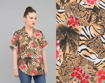 20% off SALE Vintage 80s Hawaiian Shirt Tropical Floral Novelty Animal Print Palm TREE Short Sleeve Button Up Shirt Small Medium S M