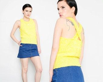 70s Courreges Paris YELLOW Nubby Knit Sweater Preppy Mod Criss Cross Strap Tank Top S M
