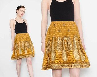 90s does 70s Gold Ethnic PAISLEY Mini Skirt High Waist Boho Festival Embroidered Sequin Skirt Small Medium S M