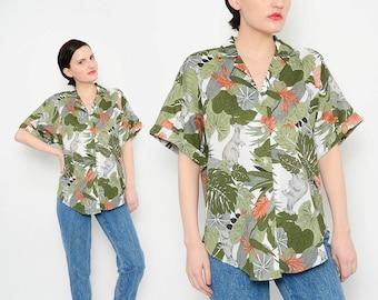 80s Tropical Australian Outback Shirt Kangaroo Novelty Print Blouse 1980s Button Up Short Sleeve Top White Green Small Medium S M