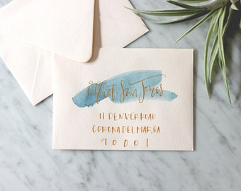 Blush with Navy Wash and Gold Ink Hand Lettering Envelope Calligraphy