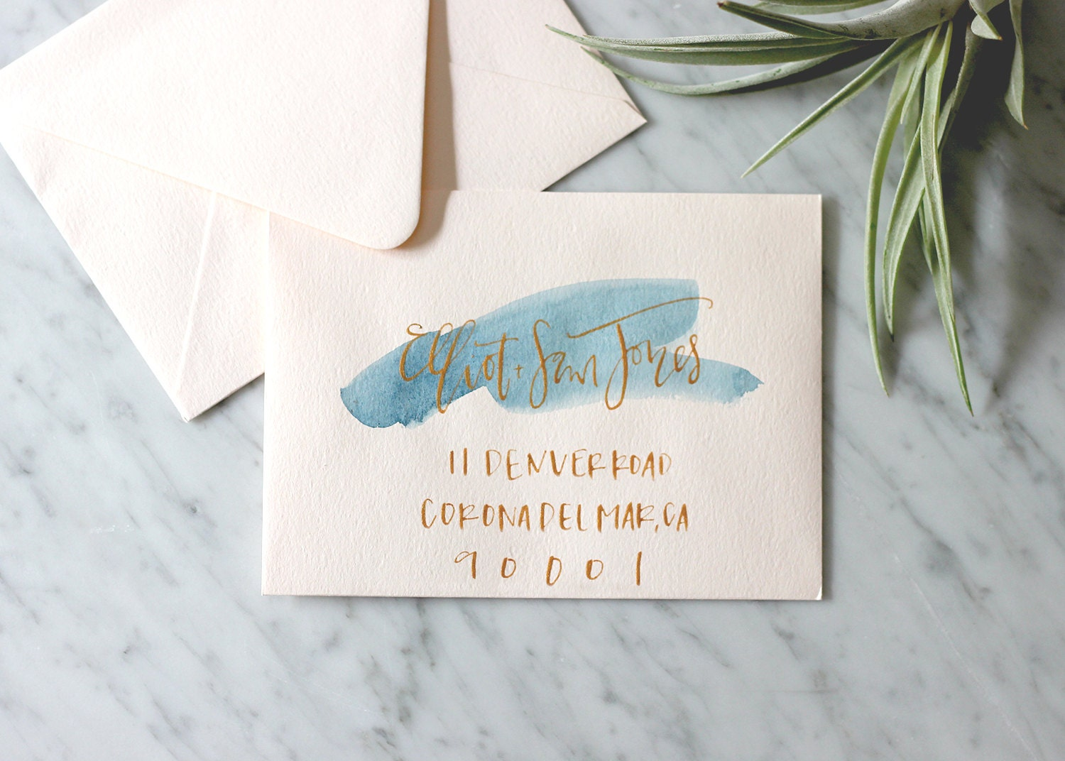 Blush With Navy Wash And Gold Ink Hand Lettering By