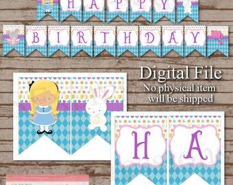 Digital Alice In Wonderland Birthday Banner