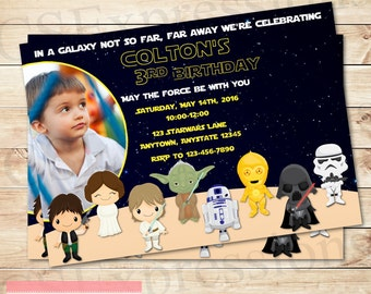 Space Wars Birthday Photo Invitation
