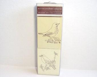 Martha Stewart Bird Stamp Set, 2 Birds, Nature Stamps, Wood Mounted Stamps