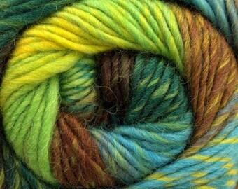 Magic Wool Deluxe Turquoise Green Brown Yellow Kuka 16878 Self-striping 100% Wool Yarn 100 Gram 218 Yards Felt Knit Crochet Weave