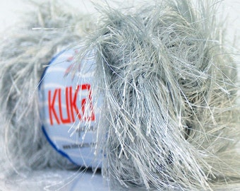 Kuka Silver Jungle Long Eyelash Yarn #20784 - 50 gram 65 yards - Ethereal Light Grey