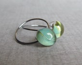 Everyday Green Earrings, Small Hoop Earrings, Sterling Silver Wire Earrings, Green Hoops, Lampwork Earrings
