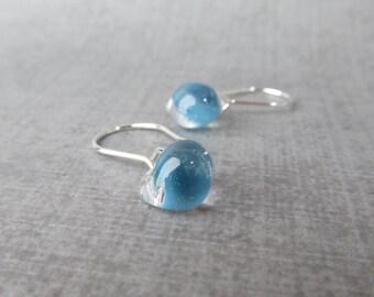 Small Celestial Blue Earrings, Blue Glass Drop Earrings, Blue Dangle Earrings, Sterling Silver Wire Earrings, Lampwork Blue Glass Earrings